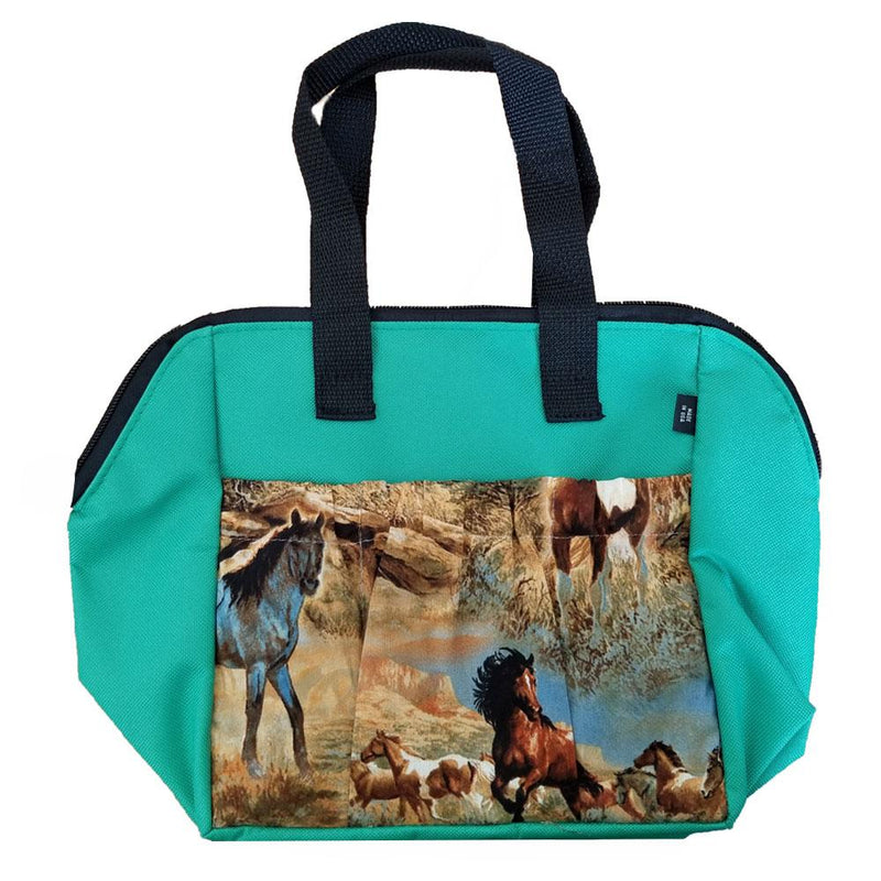 Horses In The Field 6 Pocket Zipper Tote
