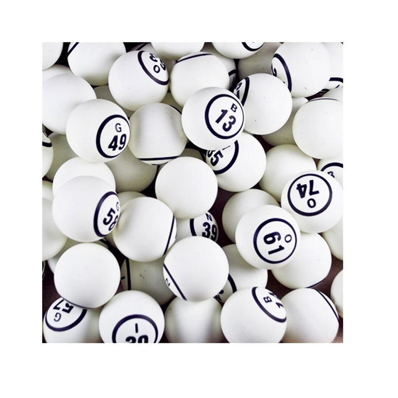 "Large Bingo Ball Set, (Non Coated) Single Number ( Approx. 1.7"") - White"
