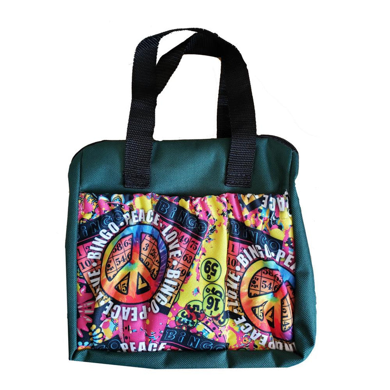 Peace, Love, Bingo 6 Pocket Zipper Bingo Tote