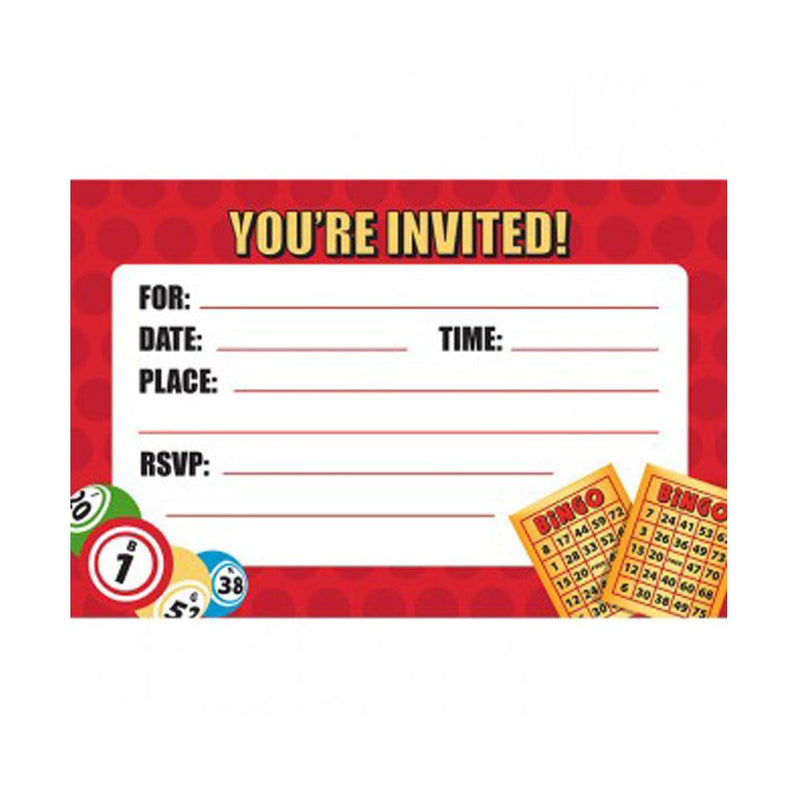 Bingo Party Invitations & Envelopes (Pkg of 8)