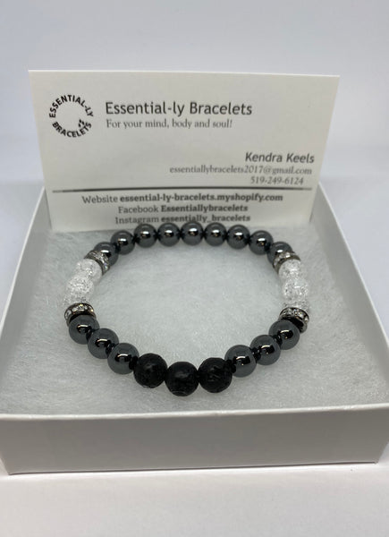 Hematite and Quartz  beaded aromatherapy healing  bracelet