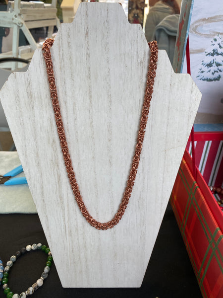 Chain mail copper necklace-byzantine weave