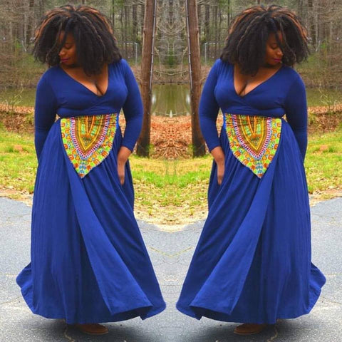 Royal Dashiki Wrap Dress