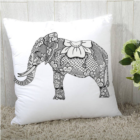 Elephant Flower Pillow Case or Pillow