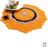 Orange crochet doily