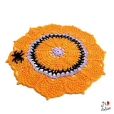 Orange crochet doily for Halloween