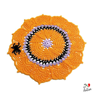 Halloween crochet doily with spider