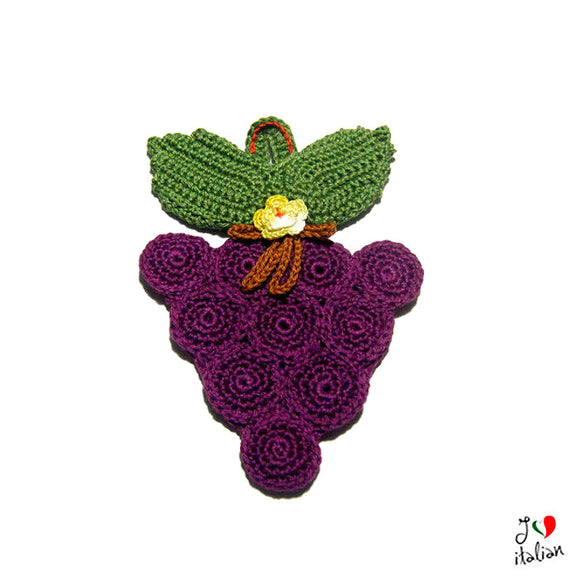 Purple and Green crochet potholder