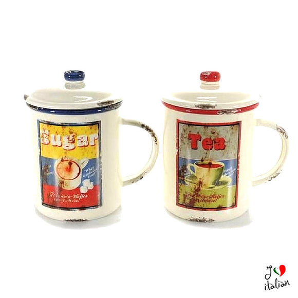 Ceramic container tea and sugar with lid - Kitchen