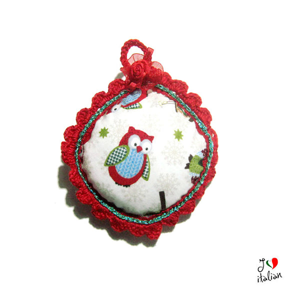 Christmas fabric ornament with owl