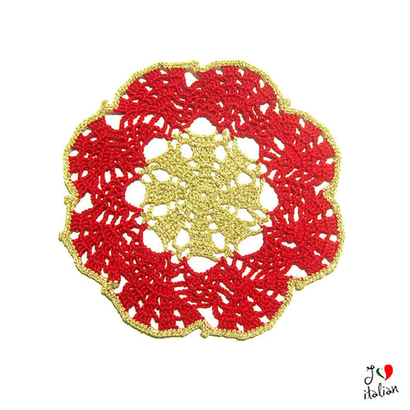 Red and Gold Christmas crochet coaster