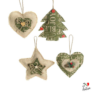 Jute and fabric Christmas hanging decorations