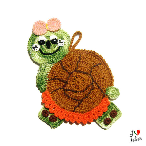 Colorful snail potholder - Crochet