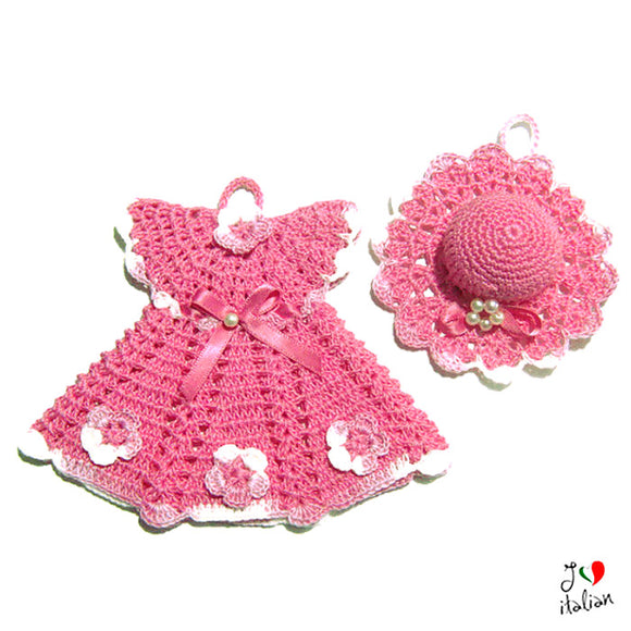 Set Pink dress potholder and hat - Crochet