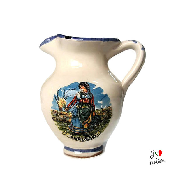 Ceramic pitcher with handle - Abruzzo Souvenir - a souvenir from Italy