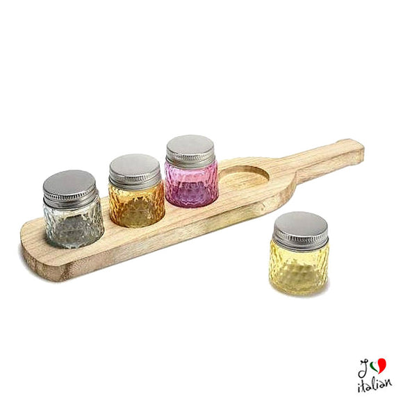 Set little jars with wooden tray