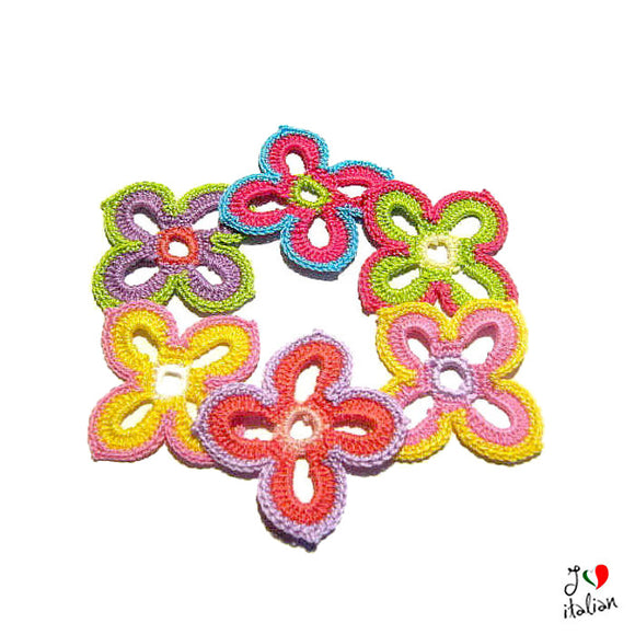 Colorful crochet flower appliques