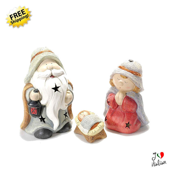 ceramic Christmas nativity figures with lights