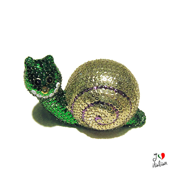 Green and Gold sequined snail - Home Decor