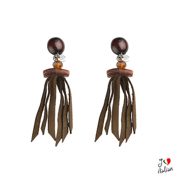 Brown earrings with fringe - Jewelry