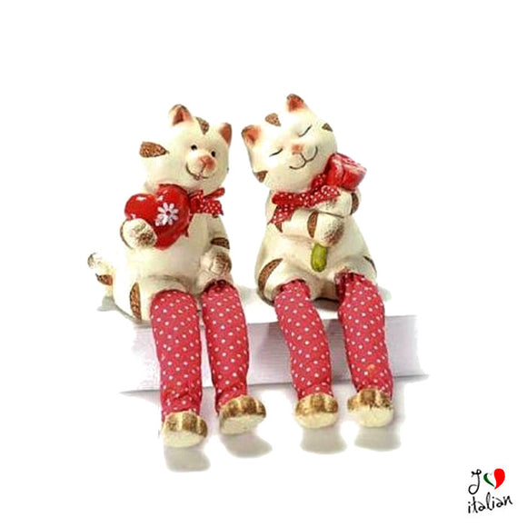 Ceramic cat in love with long legs - Home Decor