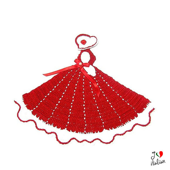Red crochet crinoline lady