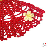 Red and Yellow crinoline lady doily - Crochet