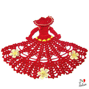 Red and Yellow crochet crinoline lady
