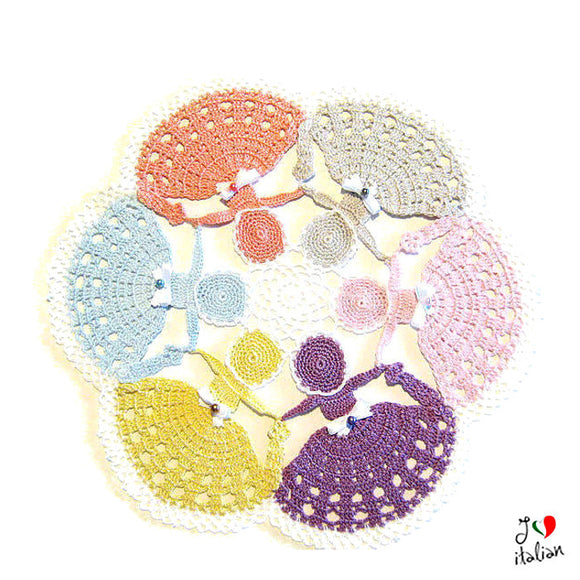 Pastel colors crochet crinoline Lady doily