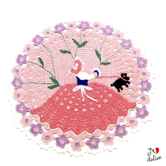 Pink crochet  doily with crinoline lady