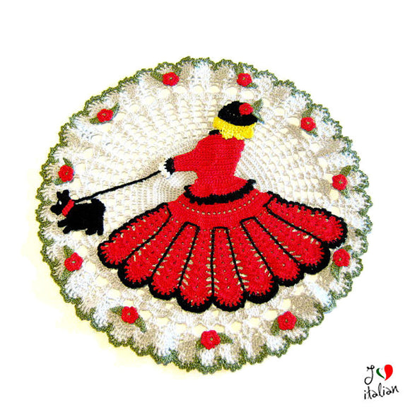 Crochet doily with Red Lady