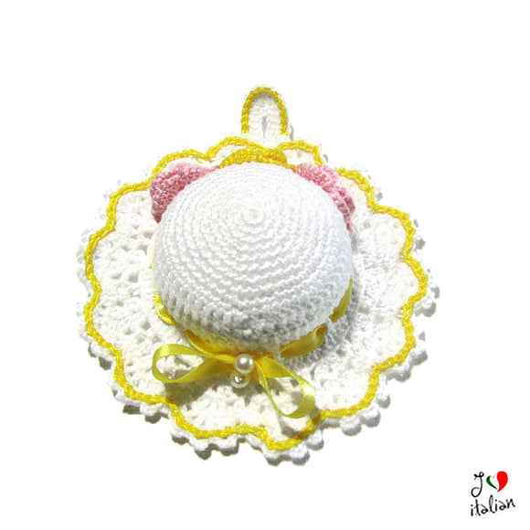 White and Yellow crochet hat pincushion
