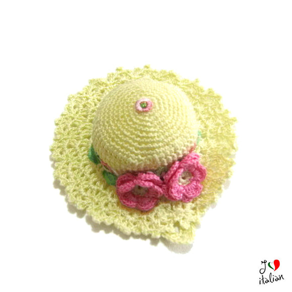 Pale Yellow and Pink hat pincushion - Crochet