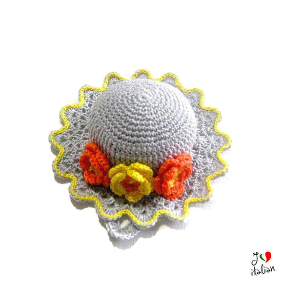 Light Grey crochet hat pincushion