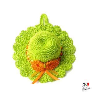 Acid Green crochet hat pincushion