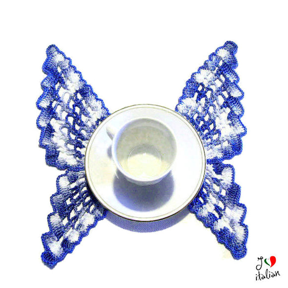Blue crochet butterfly doily