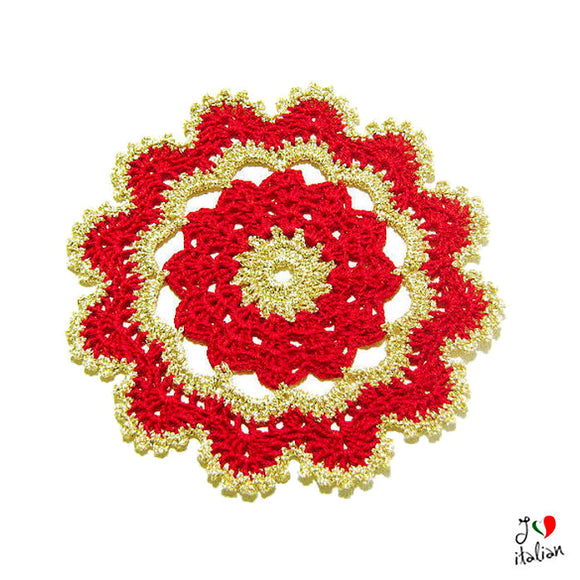Red and Gold Christmas crochet coasters