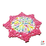 round colorful crochet coasters