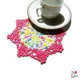 small round Pink crochet coasters