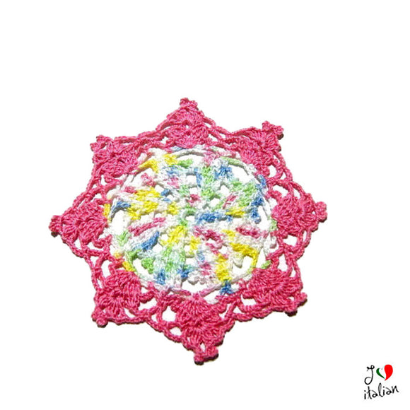 Pink and Pastel Colors crochet coaster