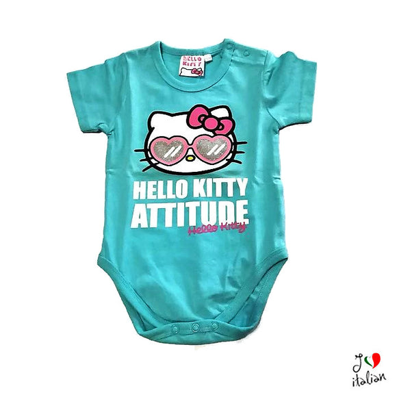 Hello Kitty body with glasses - Baby girl - Turquoise baby body