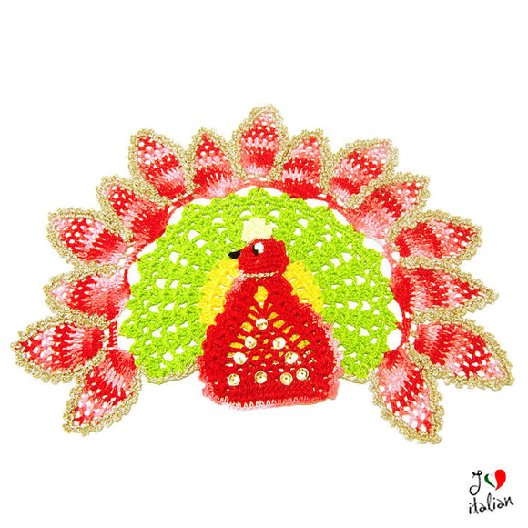 Colorful crochet peacock doily
