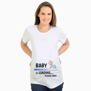 Baby Is Loading - - T-Shirts -Shirt Pour Femme Enceinte Babys Please Wait