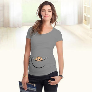 Baby Peeking Out - Gris / L - T-Shirts Bébé Grossesse Maternité New-Arrivals Peek A Boo