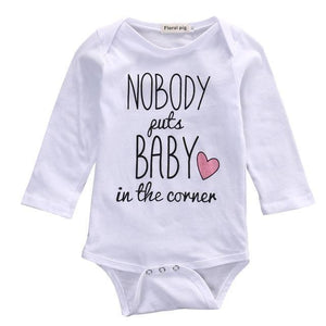 Body Bébé Nobody Puts Baby In The Corner - Blanc / 3M - Manches Longues Pour Body Baby