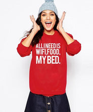Sweatshirt All I Need Is Wifi Food My Bed - Rouge/blanc / S - Sweat Bed Food Message Wifi