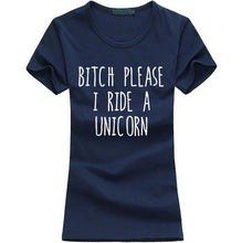T-Shirt Bitch Please I Ride A Unicorn - Marine / S - T-Shirts Licorne Marrant Message