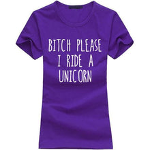 T-Shirt Bitch Please I Ride A Unicorn - Violet 2 / S - T-Shirts Licorne Marrant Message