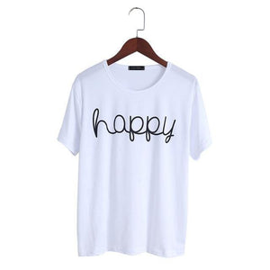 T-Shirt Femme Happy - Blanc / Xxl - T-Shirts Happy Heureuse New-Arrivals