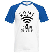T-Shirt Home Is Where The Wifi - Bleu / S - T-Shirts Drôle Home Marrant Message